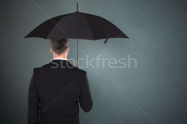 ビジネスマン 傘 背面図 グレー 手 ストックフォト © AndreyPopov