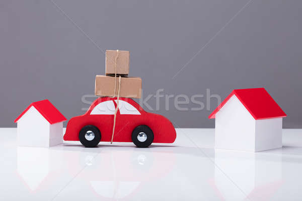 Car Transporting Cardboard Boxes From One House To Another Stock photo © AndreyPopov
