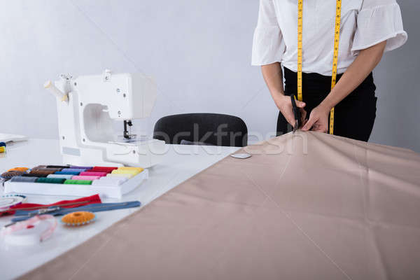 Divat designer vág szövet olló női Stock fotó © AndreyPopov