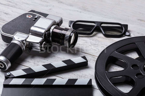 Movie Camera, Film Reel And Clapper Board Stock photo © AndreyPopov