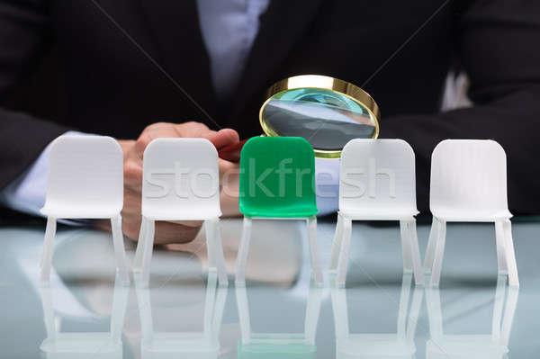 Stockfoto: Naar · vacant · stoelen · vergrootglas