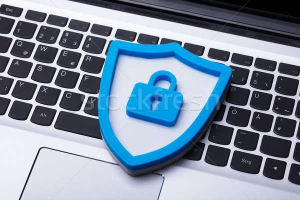 ストックフォト: 青 · セキュリティ · アイコン · ノートパソコン · キーパッド
