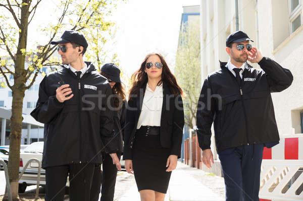 Portré női sztár fiatal sétál járda Stock fotó © AndreyPopov