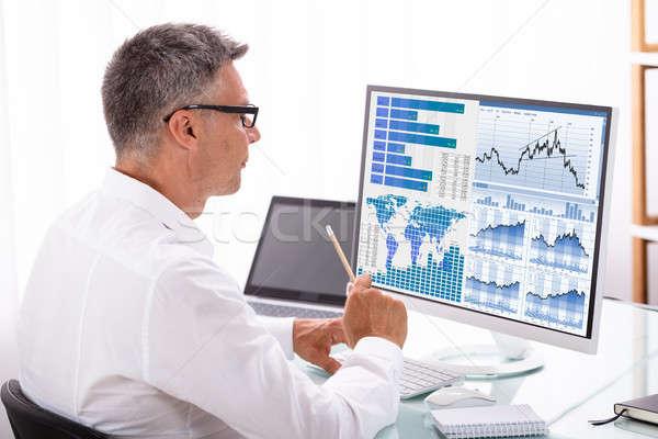 Analyzer Examining Graph On Computer Stock photo © AndreyPopov