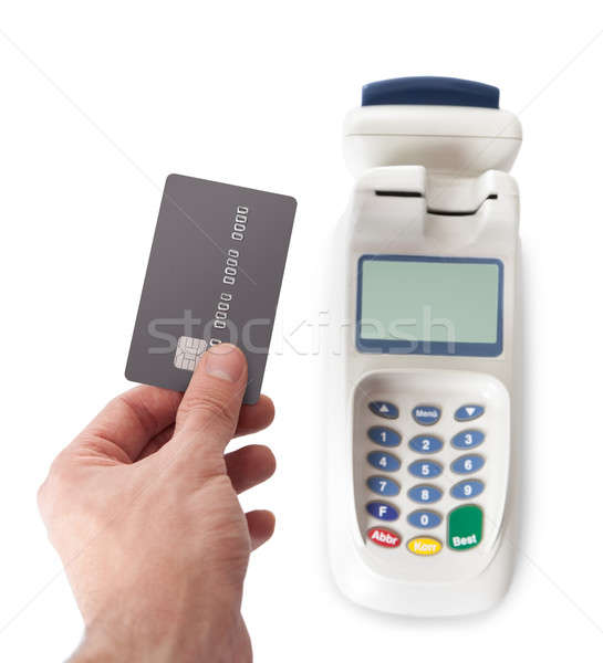 Paying with credit card using bank terminal Stock photo © AndreyPopov