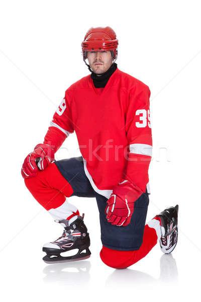 Stock fotó: Portré · profi · jégkorongozó · izolált · fehér · sport