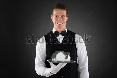 Pincér tart szolgáltatás harang portré boldog Stock fotó © AndreyPopov