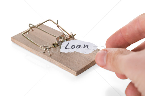 Cropped Hand Reaching Loan Sign On Mousetrap Stock photo © AndreyPopov