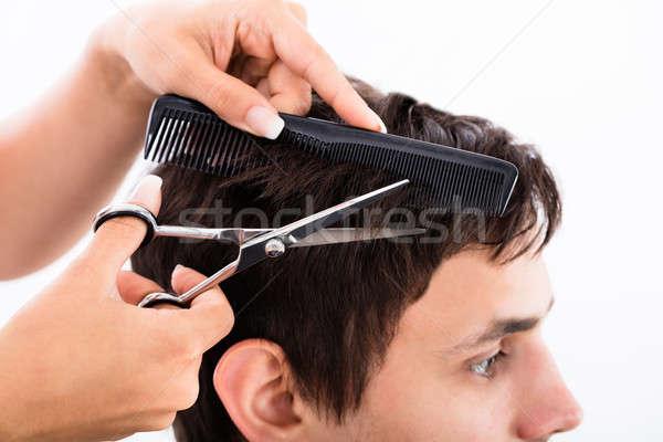 Foto stock: Hombre · peluquero · feliz · joven · reunión