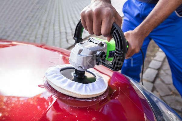 Hands Polishing Car With Orbital Polisher Stock photo © AndreyPopov