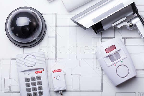 Biztonsági felszerelés terv magasról fotózva kilátás iroda papír Stock fotó © AndreyPopov