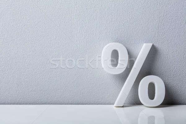 Percentage teken witte muur Stockfoto © AndreyPopov