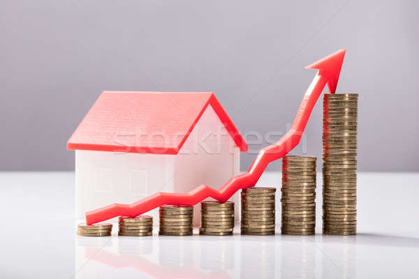 Close-up Of Increasing Graph Of Coins And House Model Stock photo © AndreyPopov