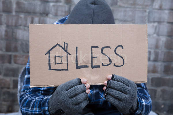 Beggar Holding Homeless Placard Stock photo © AndreyPopov