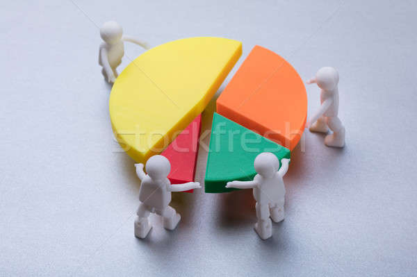 Human Figures Connecting Pieces Of Pie Chart Stock photo © AndreyPopov