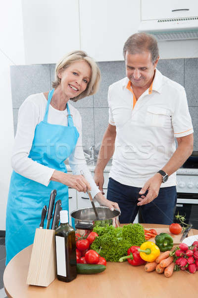 Para kuchnia człowiek patrząc kobieta Zdjęcia stock © AndreyPopov