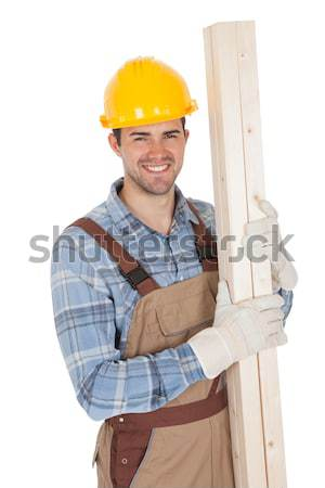 Excited worker wearing hard hat Stock photo © AndreyPopov