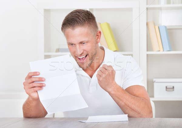 男 歓喜 手紙 空気 こぶし ストックフォト © AndreyPopov