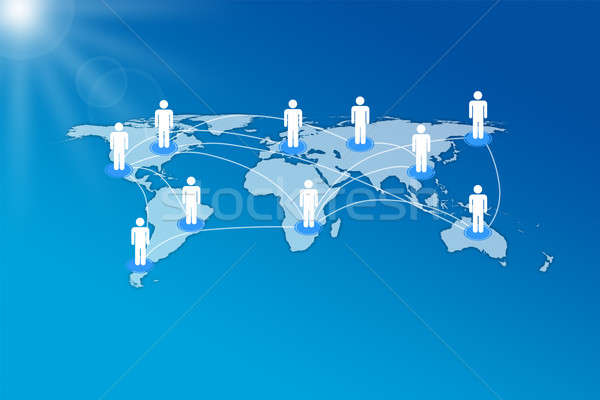 Human Icons Connected On World Map Stock photo © AndreyPopov