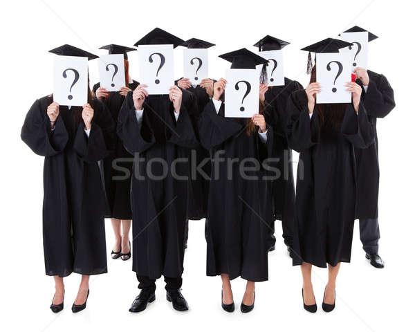 Stok fotoğraf: Mezun · Öğrenciler · soru · işaretleri · yüz