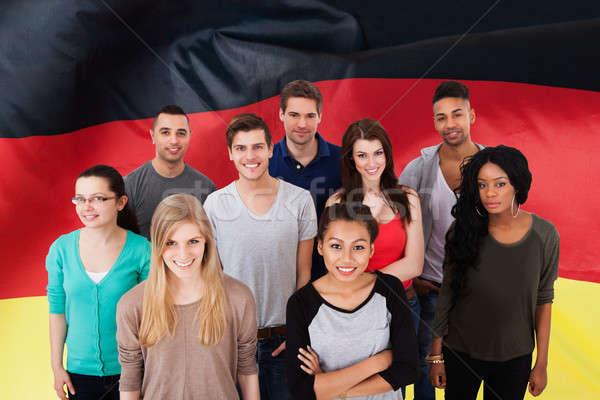 Boldog több nemzetiségű csoportkép áll textúra iskola Stock fotó © AndreyPopov