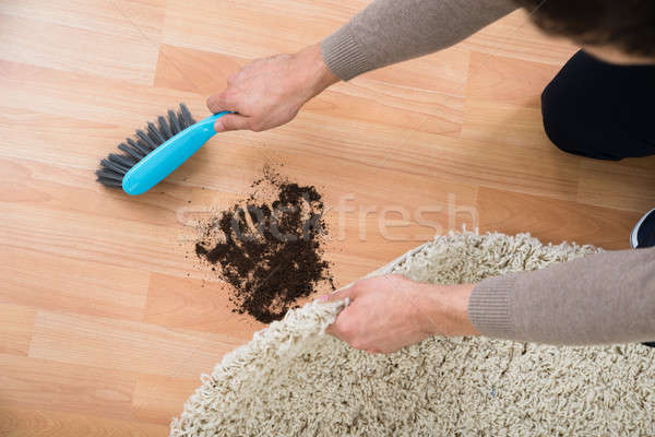 Hands Cleaning Mud On Hardwood Floor At Home Stock photo © AndreyPopov