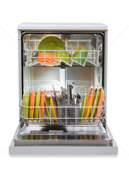 Dishwasher Against White Background Stock photo © AndreyPopov
