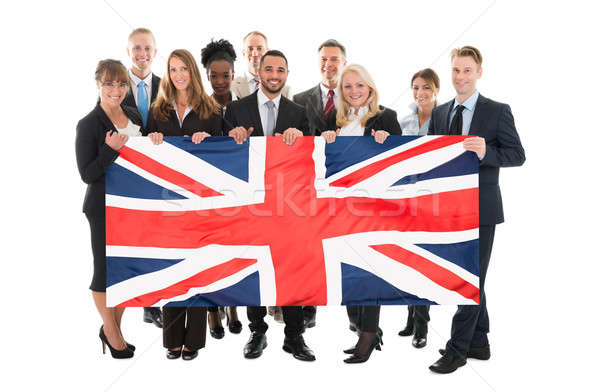 Heureux gens d'affaires union jack blanche homme Photo stock © AndreyPopov
