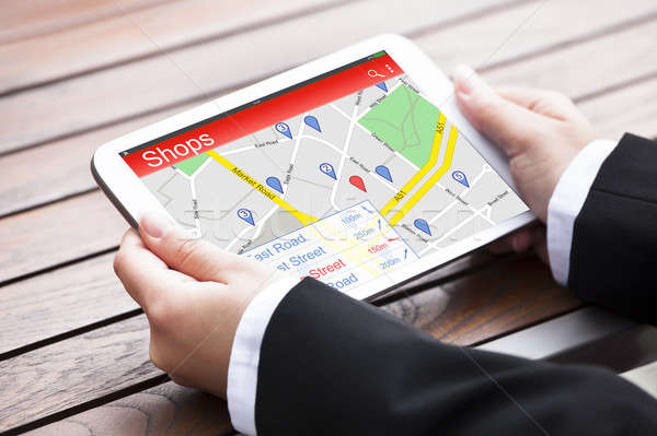 Stockfoto: Hand · gps · navigatie · digitale · tablet
