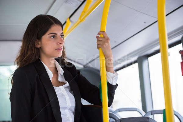 üzletasszony utazó tömegközlekedés fiatal ablak utazás Stock fotó © AndreyPopov