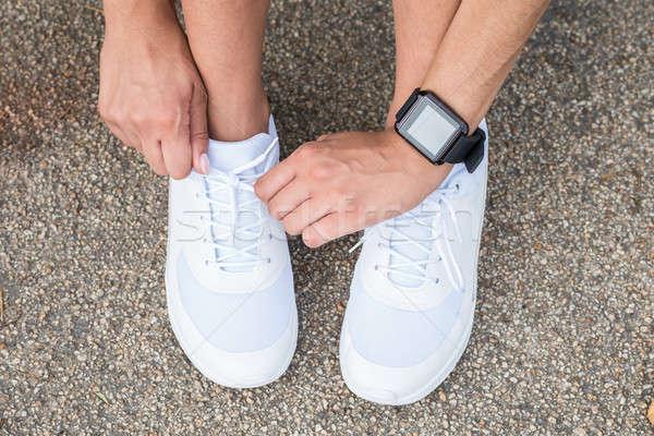 Vrouwelijke atleet jogging foto vrouw Stockfoto © AndreyPopov