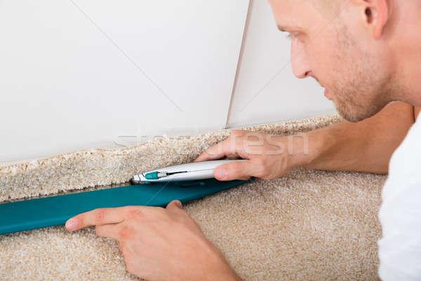 Foto stock: Homem · tapete · jovem · artesão