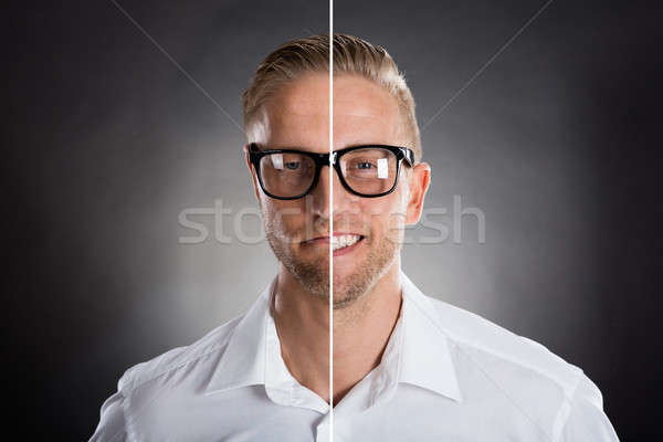 Man's Face Showing Happy And Sad Emotions Stock photo © AndreyPopov