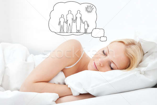 Woman Dreaming Of Having Family Together Stock photo © AndreyPopov