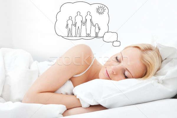 Nő álmodik család együtt fiatal nő alszik Stock fotó © AndreyPopov