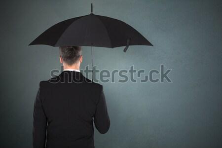 Businessman Holding A File Under Umbrella Stock photo © AndreyPopov