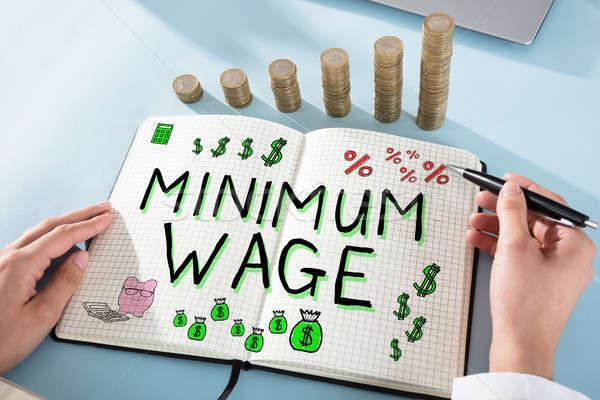 заработная плата слов блокнот женщину рисунок деньги Сток-фото © AndreyPopov