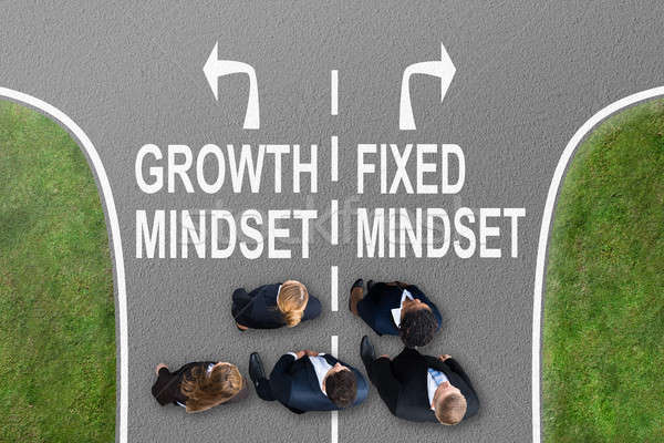 Businesspeople Near Signs Growth Mindset And Fixed Mindset Stock photo © AndreyPopov