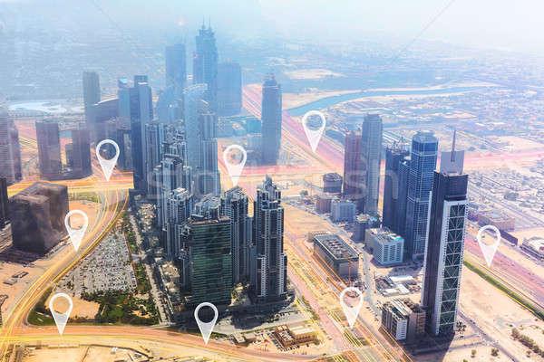 Dubai City With Location Pointers Stock photo © AndreyPopov