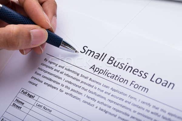 Vulling kleine bedrijven lening toepassing vorm Stockfoto © AndreyPopov