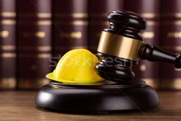 Close-up Of Gavel And Hard Hat Stock photo © AndreyPopov