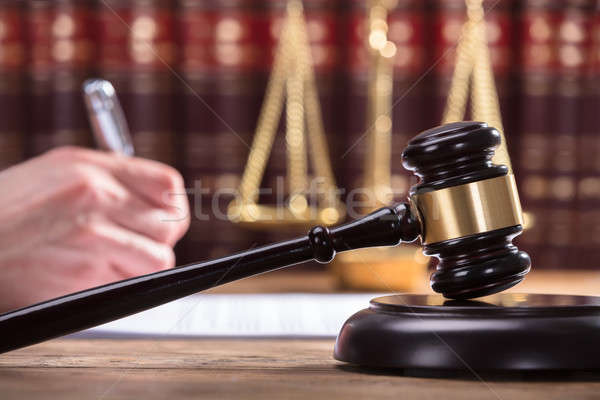 Stock photo: Close-up Of A Gavel In Courtroom