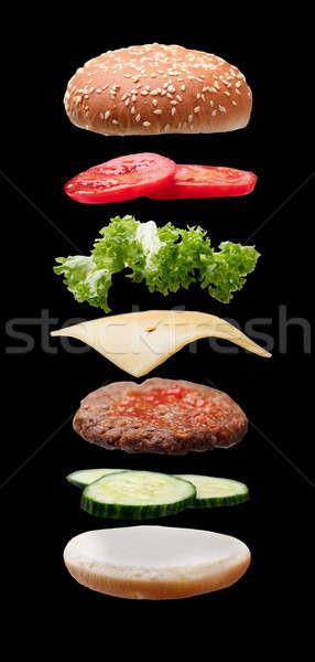Hambúrguer ingredientes preto comida carne Foto stock © AndreyPopov