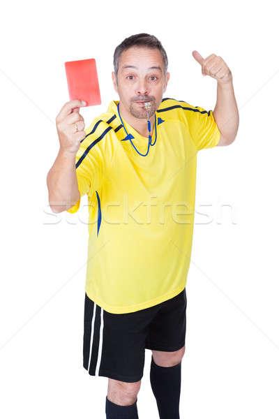 Calcio arbitro rosso carta bianco Foto d'archivio © AndreyPopov