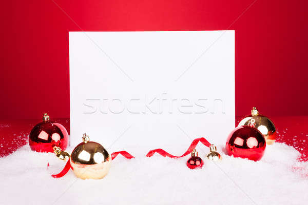 Blank Placard With Christmas Baubles Stock photo © AndreyPopov