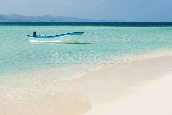Csónak tenger tengerpart trópusi tengerpart égbolt víz Stock fotó © AndreyPopov