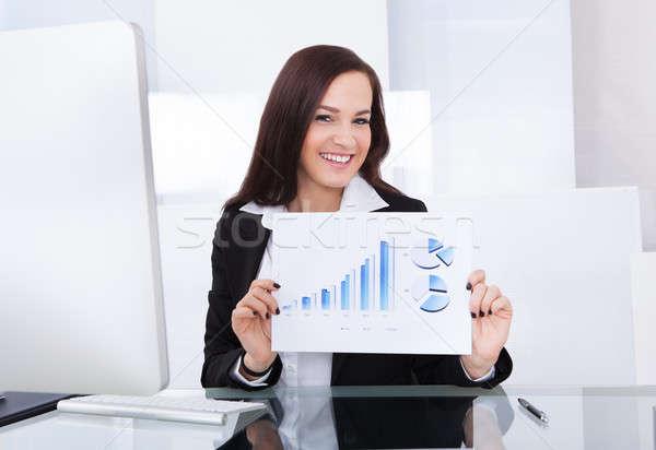 Feliz empresária progresso traçar retrato Foto stock © AndreyPopov
