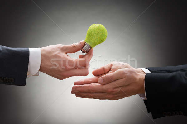 Businessman Giving Eco Light Bulb To Other Businessperson Stock photo © AndreyPopov