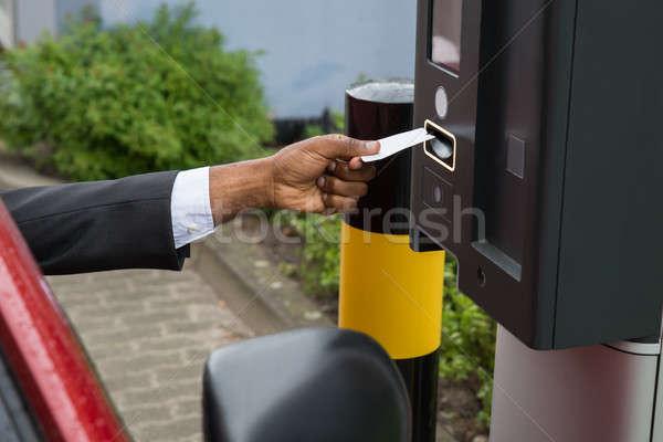Persona sesión coche aparcamiento máquina Foto stock © AndreyPopov