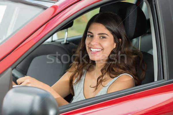 Happy Woman Driving Car Stock photo © AndreyPopov